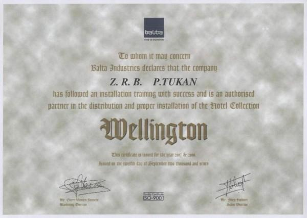 Wellington certyfikat