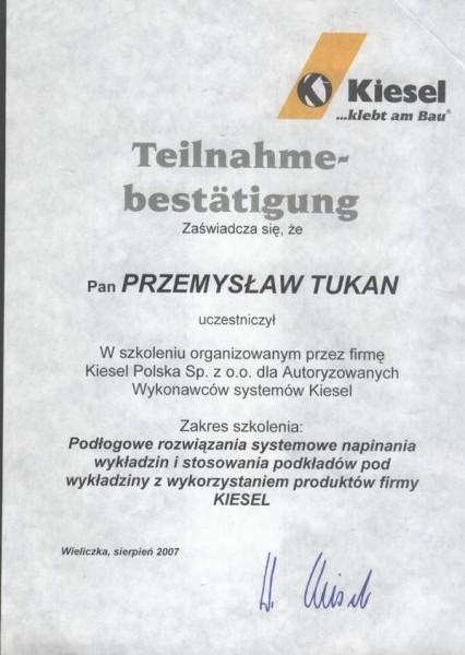 certyfikat udziału w szkoleniu Kiesel Polska