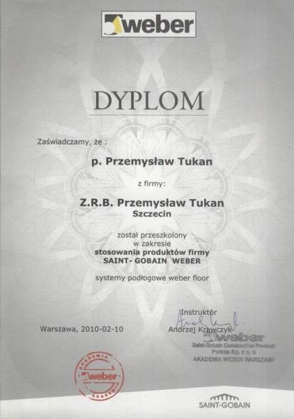 certyfikat weber dla Przemysława Tukana