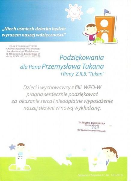 podziękowania dla Pana Przemysława Tukana