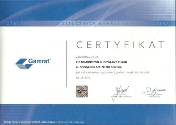 certyfikat autoryzowanego wykonawcy podłóg z wykładzin Gamrat