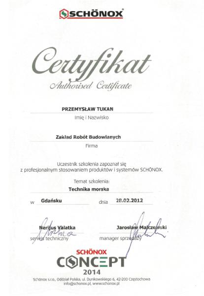 Schonox certyfikat dla Przemysława Tukana