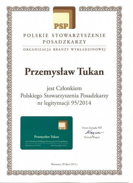 certyfikat - Przemysław Tukan Członkiem Polskiego Stowarzyszenia Posadzkarzy